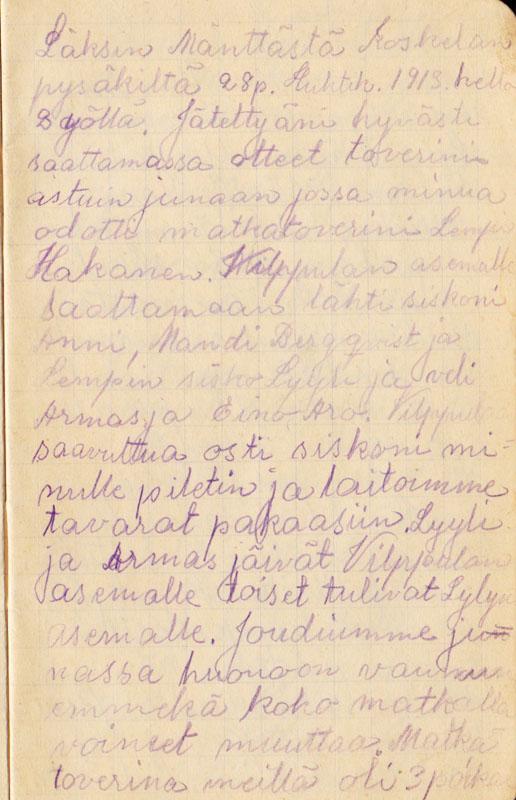 Hilda Koskisen matkapäiväkirja